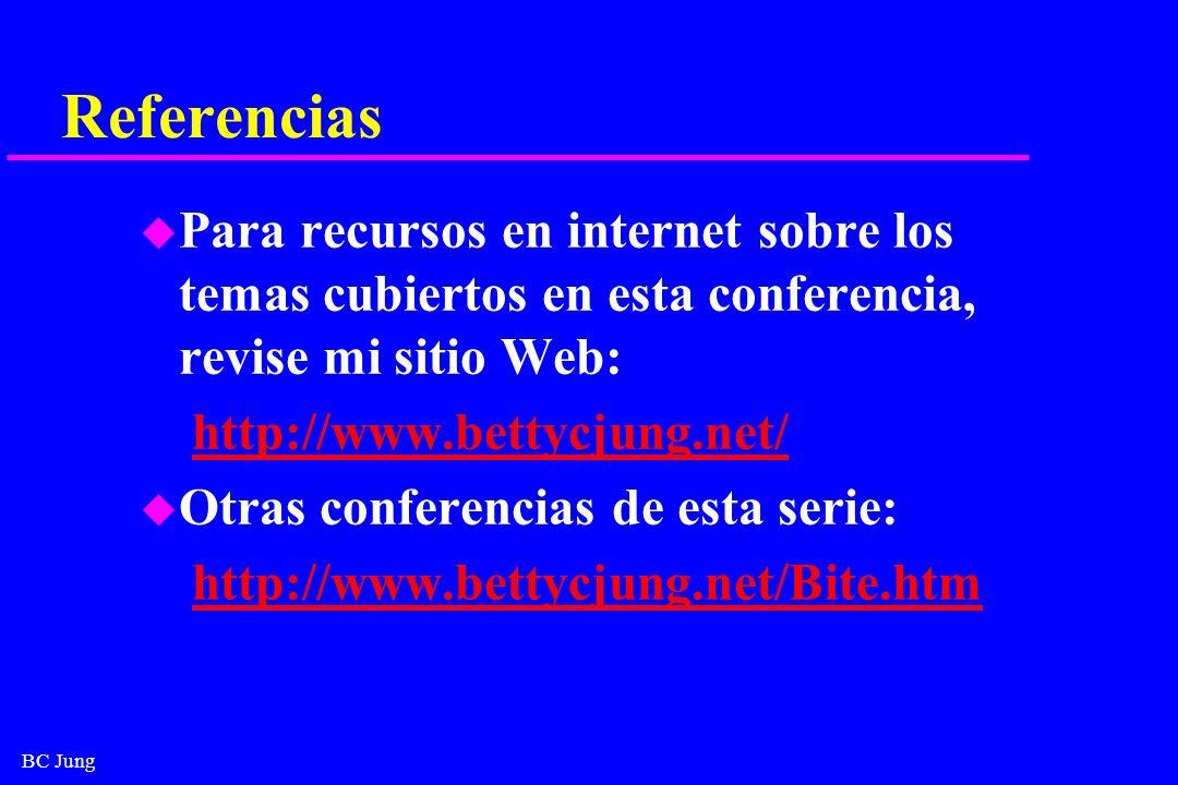 BC Jung Referencias u Para recursos en internet sobre los temas cubiertos en esta conferencia, revise mi sitio Web: http://www.bettycjung.net/ u Otras
