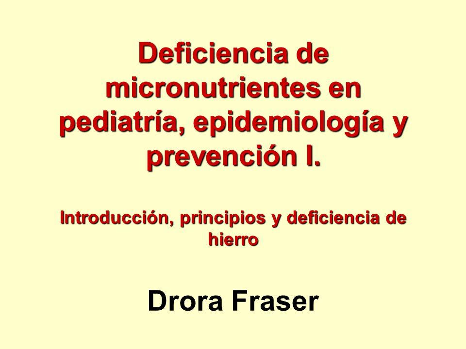 Deficiencia de micronutrientes en pediatría, epidemiología y prevención I. Introducción, principios y deficiencia de hierro Deficiencia de micronutrie