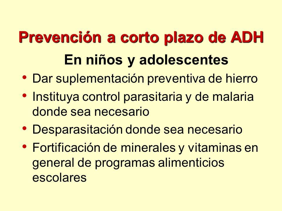 Prevención a corto plazo de ADH En niños y adolescentes Dar suplementación preventiva de hierro Instituya control parasitaria y de malaria donde sea n