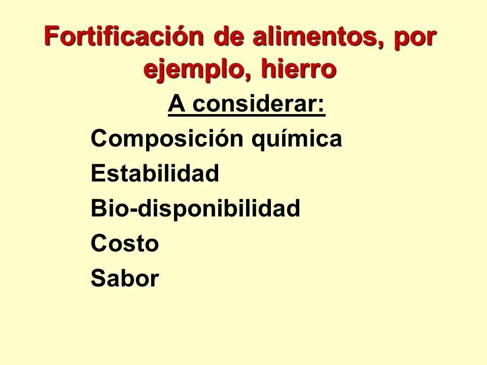 Fortificación de alimentos, por ejemplo, hierro A considerar: Composición química Estabilidad Bio-disponibilidad Costo Sabor