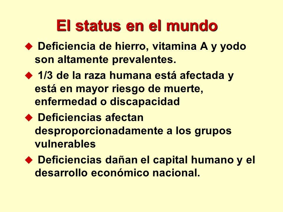 El status en el mundo u Deficiencia de hierro, vitamina A y yodo son altamente prevalentes. u 1/3 de la raza humana está afectada y está en mayor ries