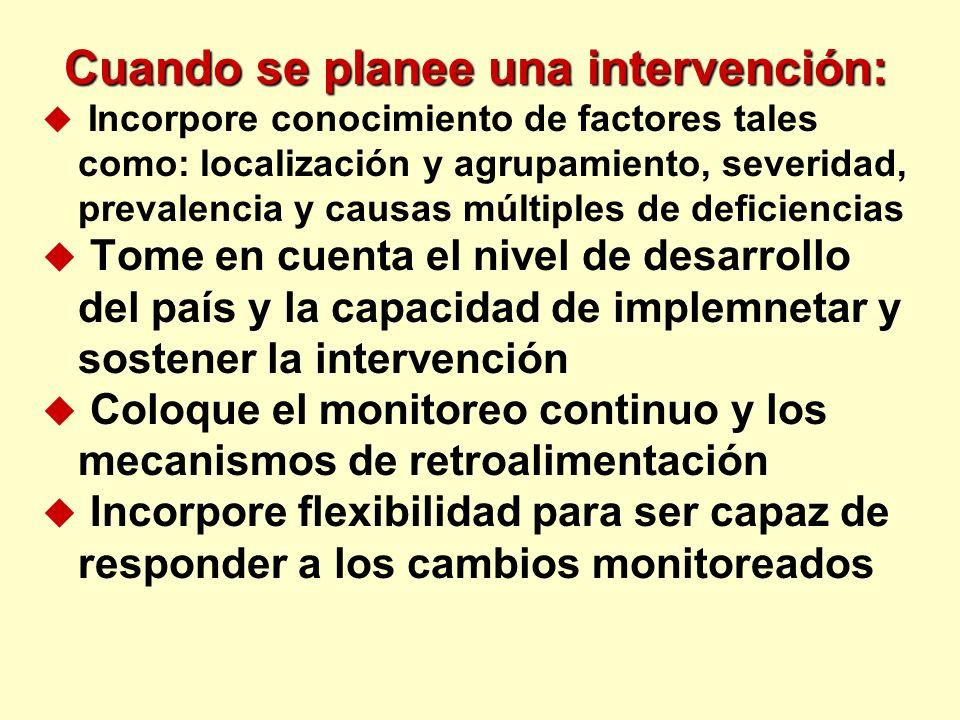 Cuando se planee una intervención: u Incorpore conocimiento de factores tales como: localización y agrupamiento, severidad, prevalencia y causas múlti
