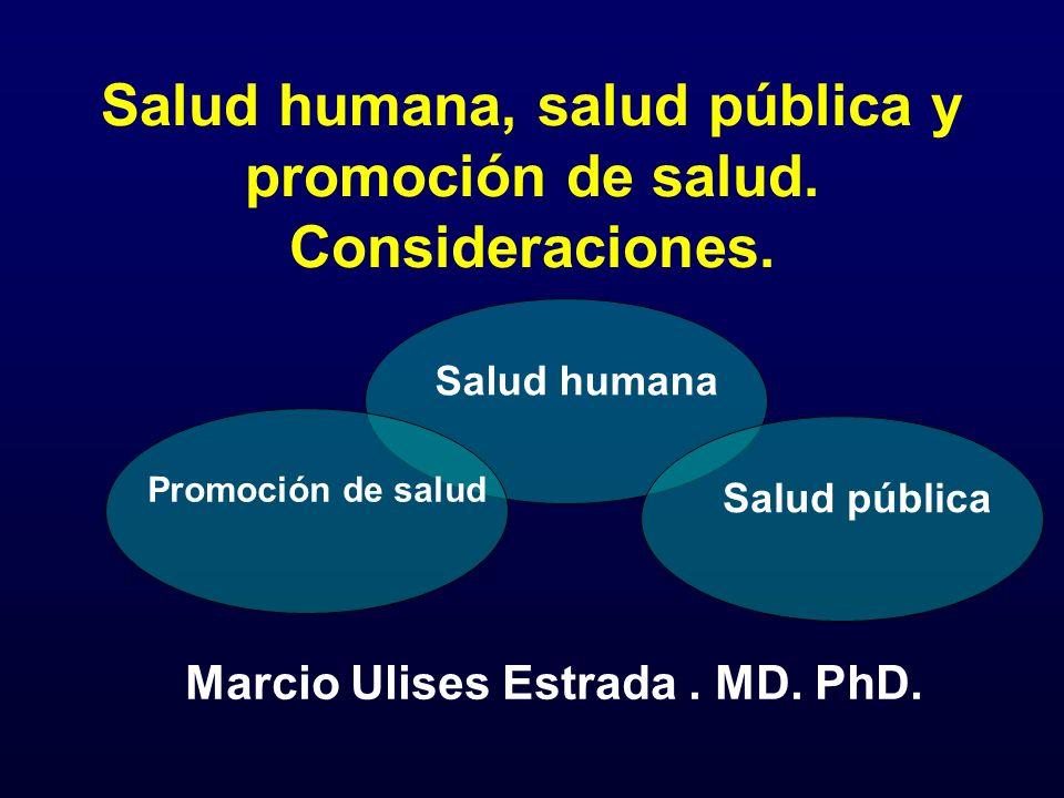Salud humana, salud pública y promoción de salud. Consideraciones. Marcio Ulises Estrada. MD. PhD. Salud humana Salud pública Promoción de salud