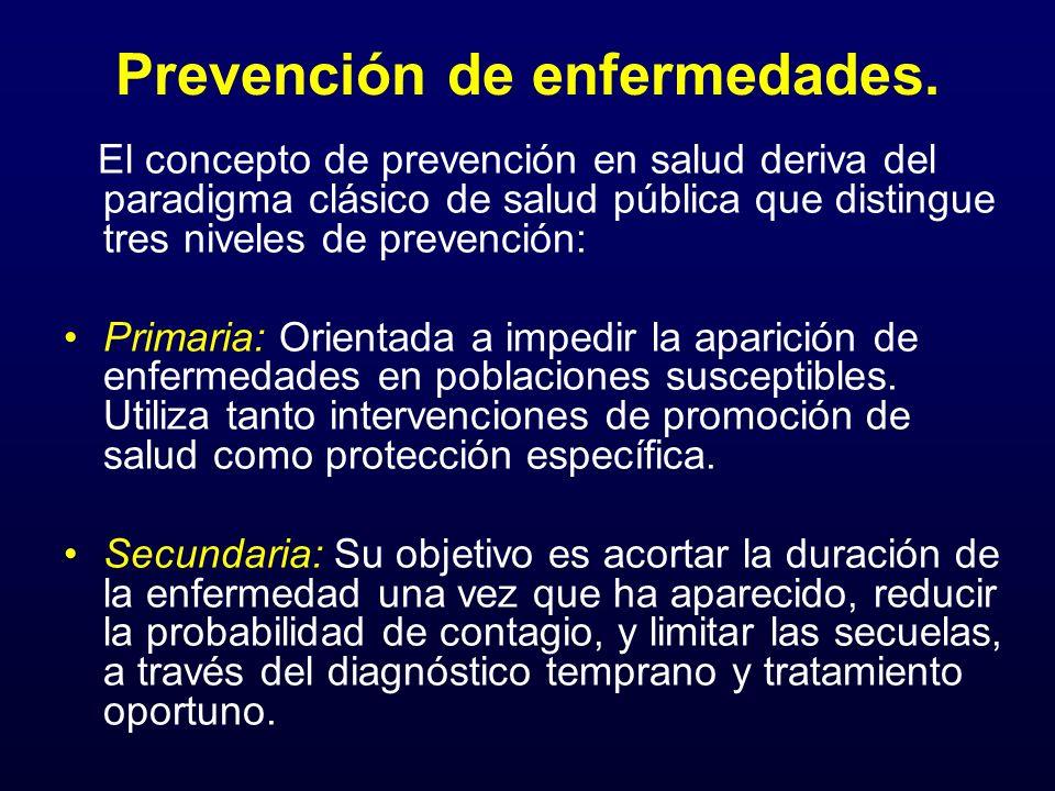Prevención de enfermedades. El concepto de prevención en salud deriva del paradigma clásico de salud pública que distingue tres niveles de prevención: