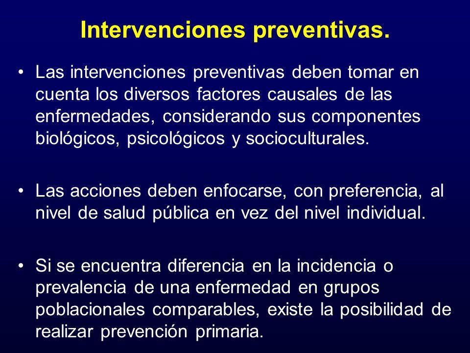 Intervenciones preventivas. Las intervenciones preventivas deben tomar en cuenta los diversos factores causales de las enfermedades, considerando sus