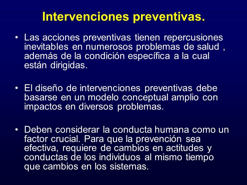 Intervenciones preventivas. Las acciones preventivas tienen repercusiones inevitables en numerosos problemas de salud, además de la condición específi