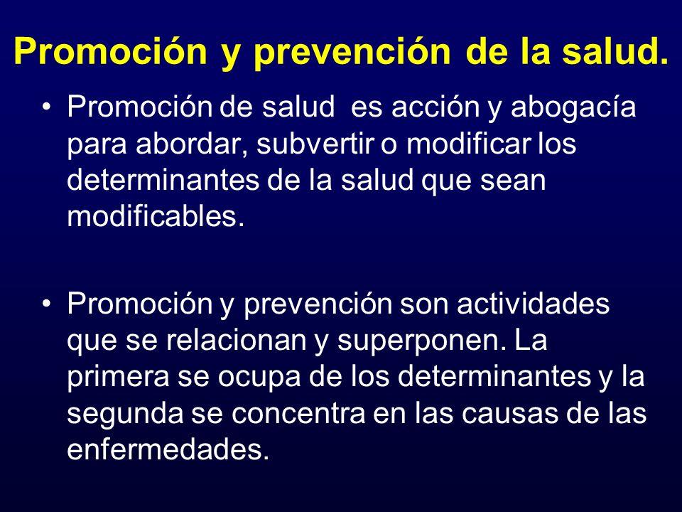 Promoción y prevención de la salud. Promoción de salud es acción y abogacía para abordar, subvertir o modificar los determinantes de la salud que sean