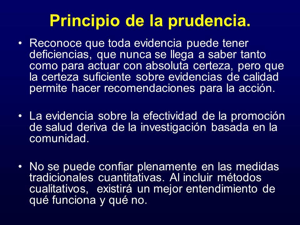 Principio de la prudencia. Reconoce que toda evidencia puede tener deficiencias, que nunca se llega a saber tanto como para actuar con absoluta certez