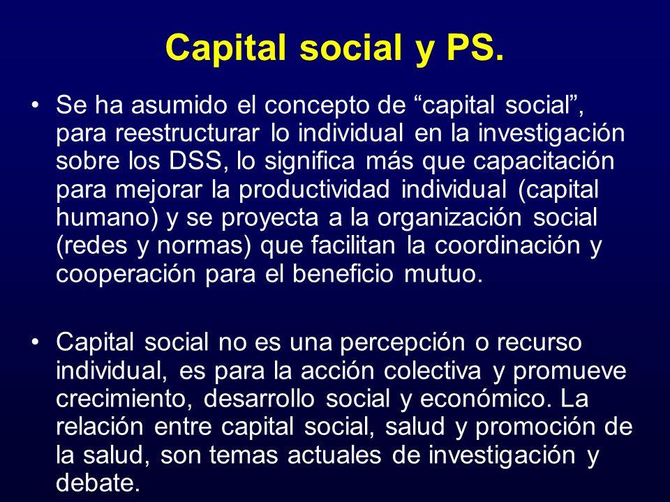 Capital social y PS. Se ha asumido el concepto de capital social, para reestructurar lo individual en la investigación sobre los DSS, lo significa más