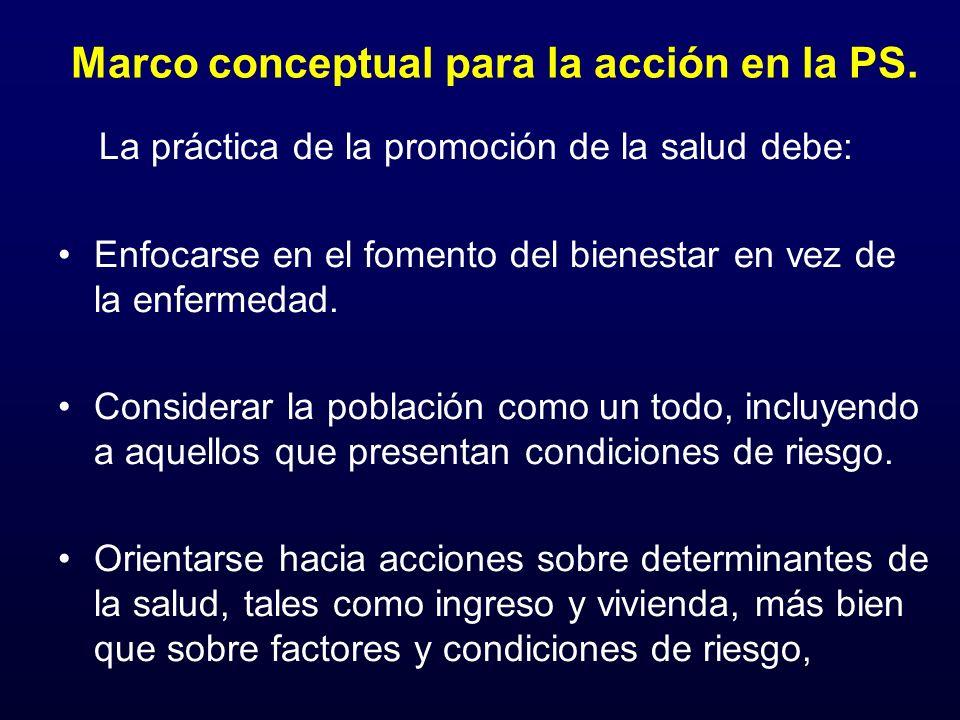 Marco conceptual para la acción en la PS. La práctica de la promoción de la salud debe: Enfocarse en el fomento del bienestar en vez de la enfermedad.