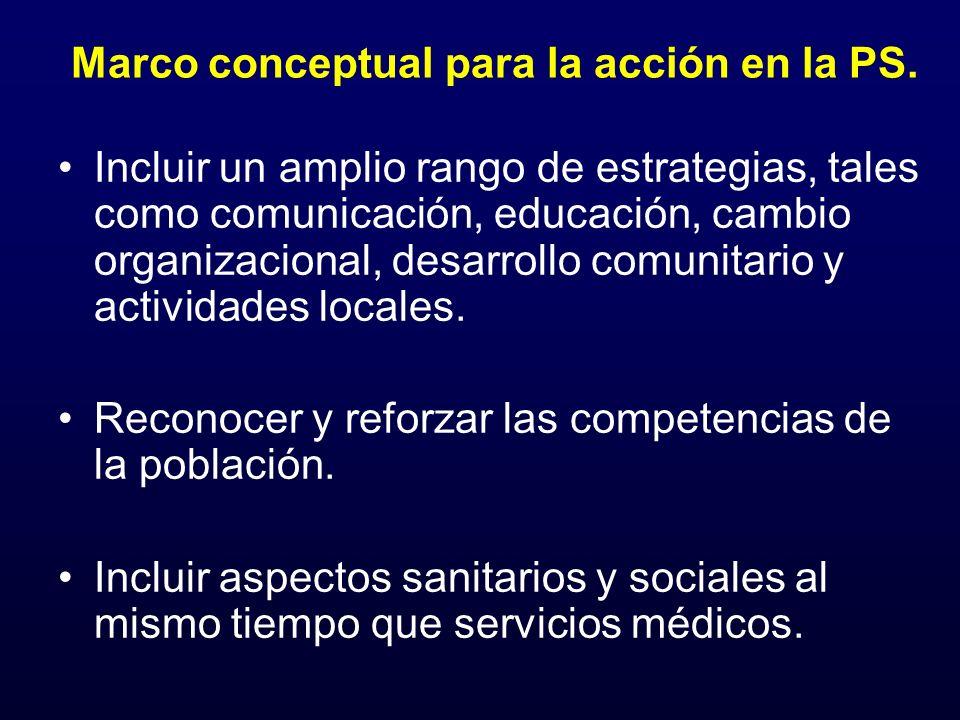Marco conceptual para la acción en la PS. Incluir un amplio rango de estrategias, tales como comunicación, educación, cambio organizacional, desarroll