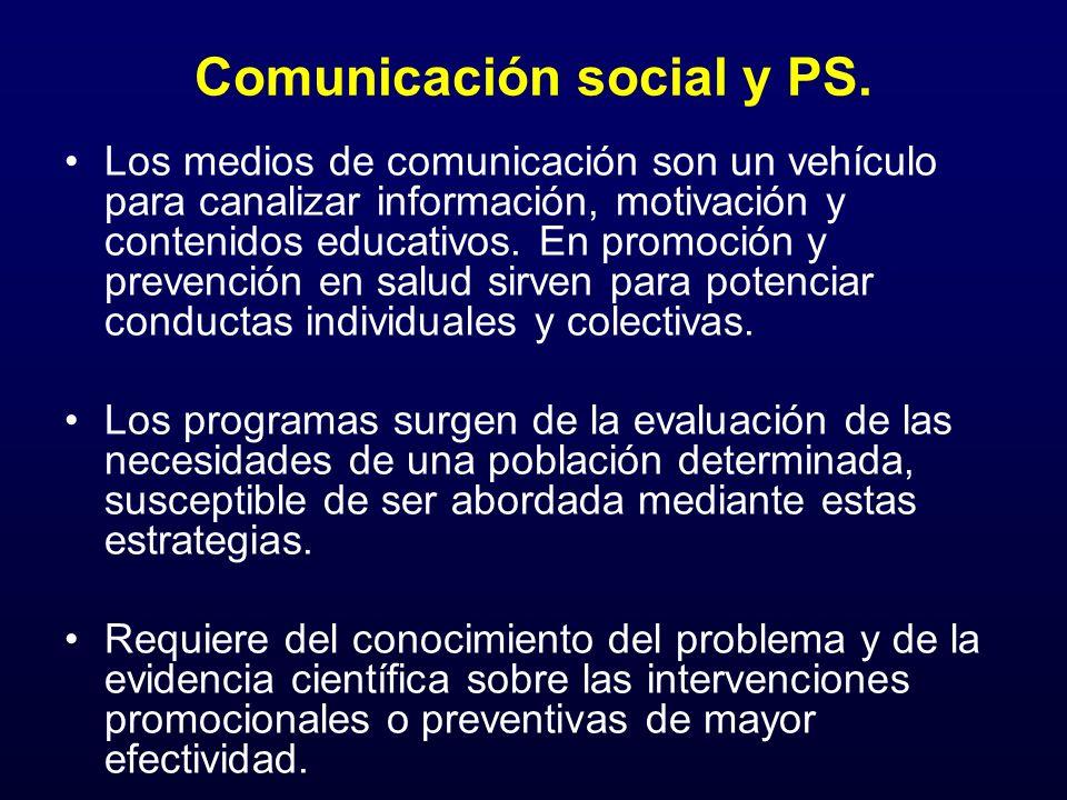 Comunicación social y PS. Los medios de comunicación son un vehículo para canalizar información, motivación y contenidos educativos. En promoción y pr