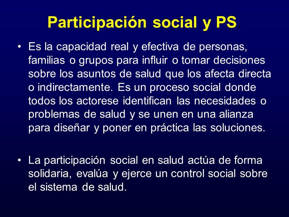 Participación social y PS. Es la capacidad real y efectiva de personas, familias o grupos para influir o tomar decisiones sobre los asuntos de salud q