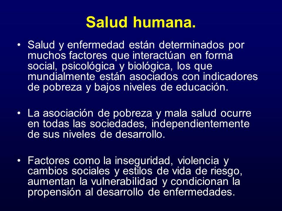 Salud humana. Salud y enfermedad están determinados por muchos factores que interactúan en forma social, psicológica y biológica, los que mundialmente
