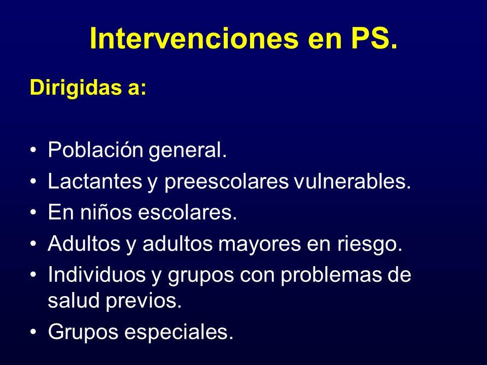 Intervenciones en PS. Dirigidas a: Población general. Lactantes y preescolares vulnerables. En niños escolares. Adultos y adultos mayores en riesgo. I