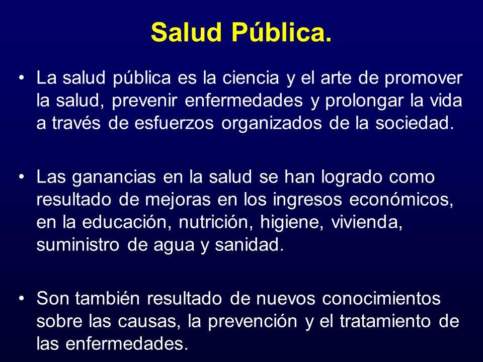 Salud Pública. La salud pública es la ciencia y el arte de promover la salud, prevenir enfermedades y prolongar la vida a través de esfuerzos organiza