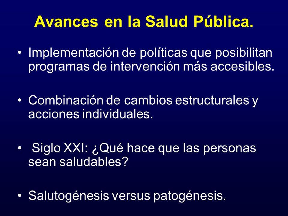 Avances en la Salud Pública. Implementación de políticas que posibilitan programas de intervención más accesibles. Combinación de cambios estructurale