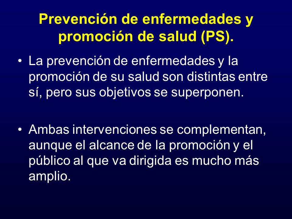 Prevención de enfermedades y promoción de salud (PS). La prevención de enfermedades y la promoción de su salud son distintas entre sí, pero sus objeti