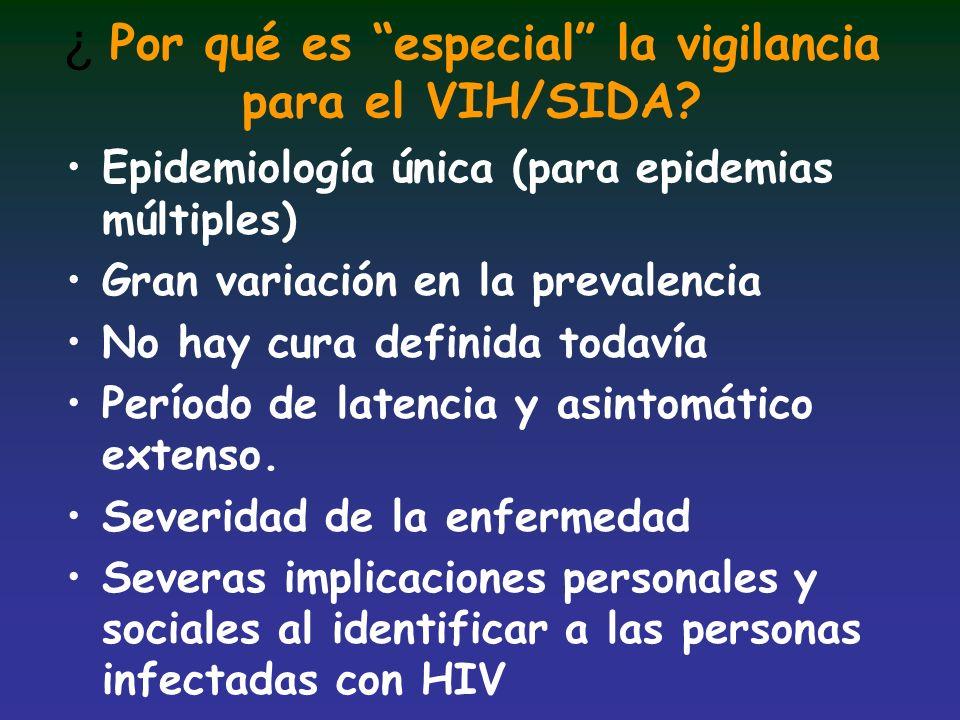 ¿ Por qué es especial la vigilancia para el VIH/SIDA? Epidemiología única (para epidemias múltiples) Gran variación en la prevalencia No hay cura defi