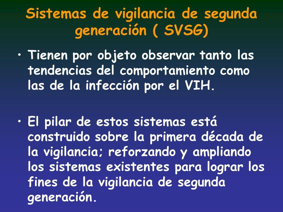 Sistemas de vigilancia de segunda generación ( SVSG) Tienen por objeto observar tanto las tendencias del comportamiento como las de la infección por e