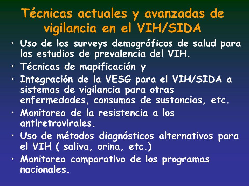 Técnicas actuales y avanzadas de vigilancia en el VIH/SIDA Uso de los surveys demográficos de salud para los estudios de prevalencia del VIH. Técnicas