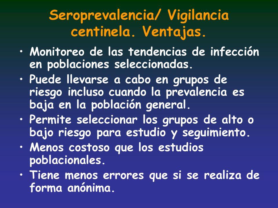 Seroprevalencia/ Vigilancia centinela. Ventajas. Monitoreo de las tendencias de infección en poblaciones seleccionadas. Puede llevarse a cabo en grupo