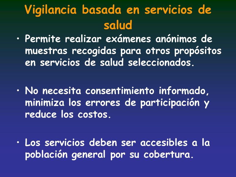 Vigilancia basada en servicios de salud Permite realizar exámenes anónimos de muestras recogidas para otros propósitos en servicios de salud seleccion