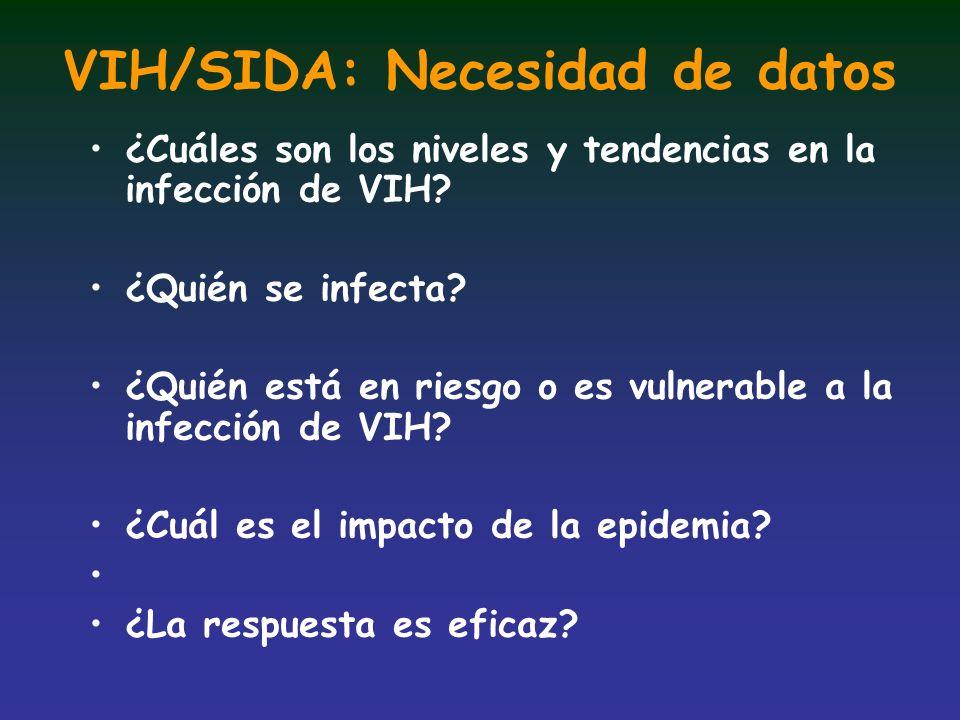 VIH/SIDA: Necesidad de datos ¿Cuáles son los niveles y tendencias en la infección de VIH? ¿Quién se infecta? ¿Quién está en riesgo o es vulnerable a l