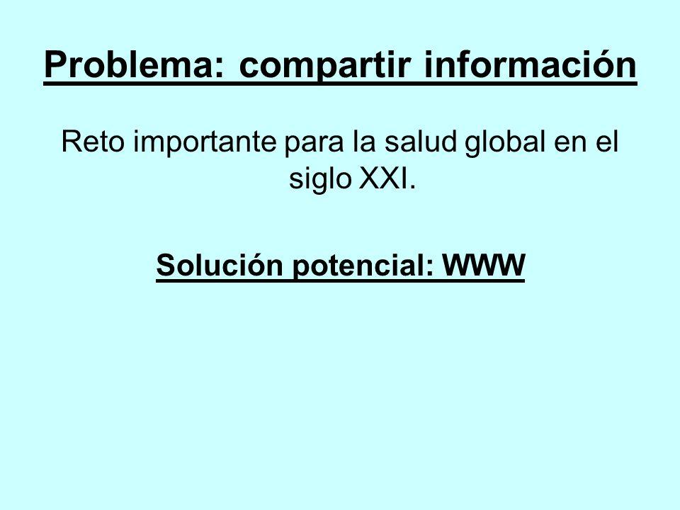 Problema: compartir información Reto importante para la salud global en el siglo XXI.