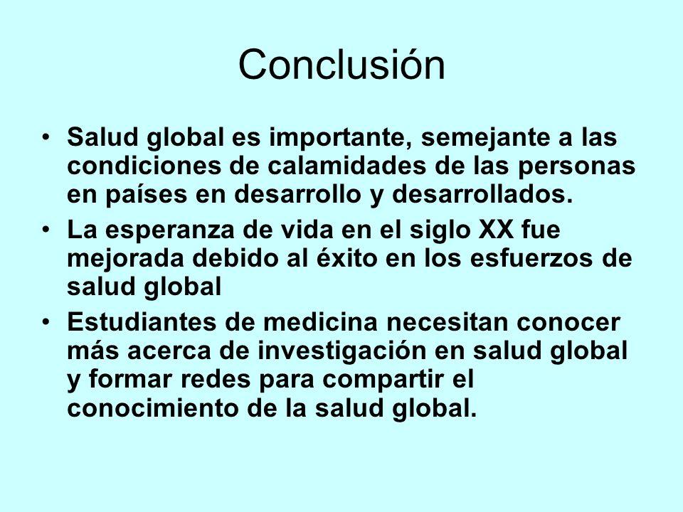 Conclusión Salud global es importante, semejante a las condiciones de calamidades de las personas en países en desarrollo y desarrollados.