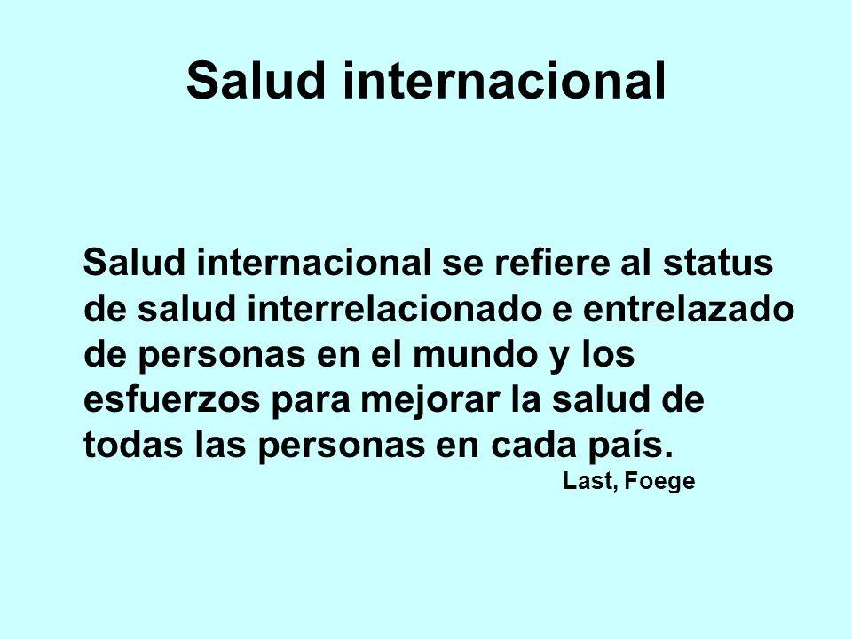 Salud internacional Salud internacional se refiere al status de salud interrelacionado e entrelazado de personas en el mundo y los esfuerzos para mejorar la salud de todas las personas en cada país.