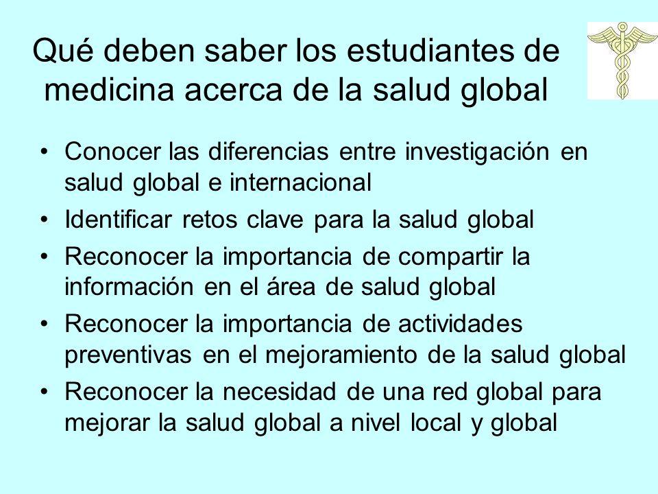 Qué deben saber los estudiantes de medicina acerca de la salud global Conocer las diferencias entre investigación en salud global e internacional Iden