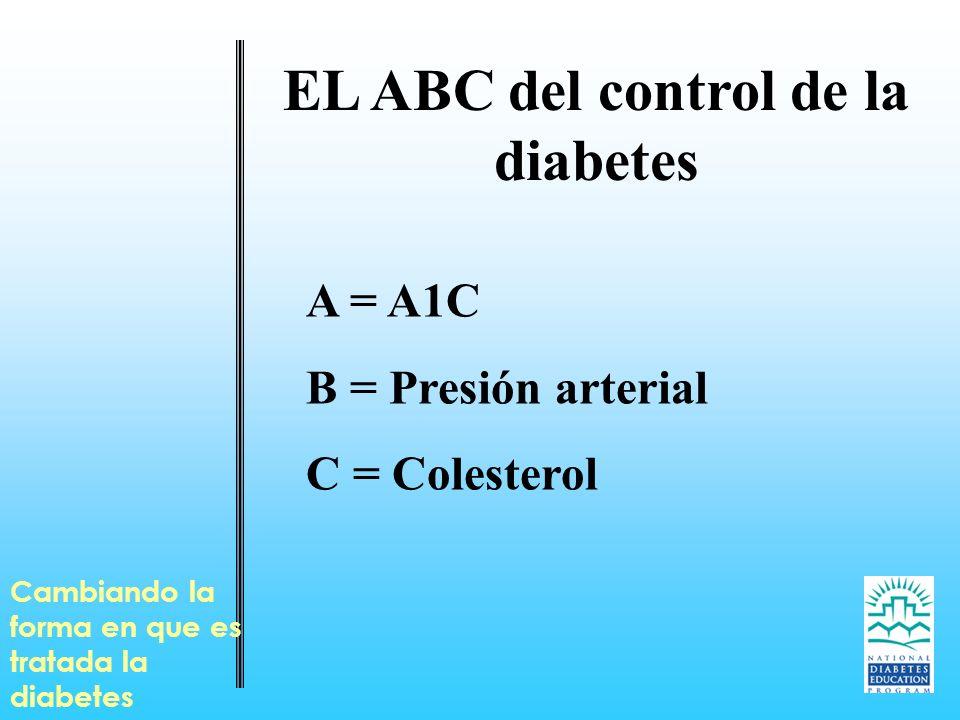 EL ABC del control de la diabetes A = A1C B = Presión arterial C = Colesterol