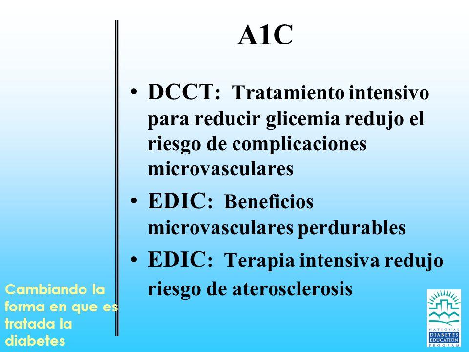 Cambiando la forma en que es tratada la diabetes A1C DCCT : Tratamiento intensivo para reducir glicemia redujo el riesgo de complicaciones microvascul