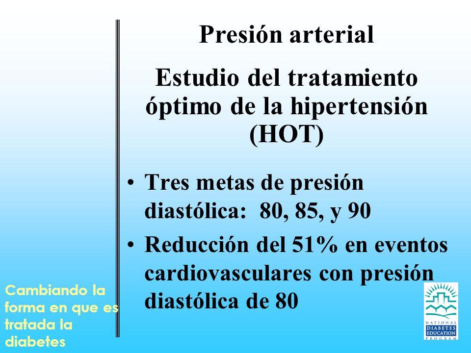 Cambiando la forma en que es tratada la diabetes Presión arterial Estudio del tratamiento óptimo de la hipertensión (HOT) Tres metas de presión diastó