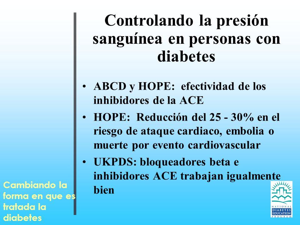 Cambiando la forma en que es tratada la diabetes Controlando la presión sanguínea en personas con diabetes ABCD y HOPE: efectividad de los inhibidores