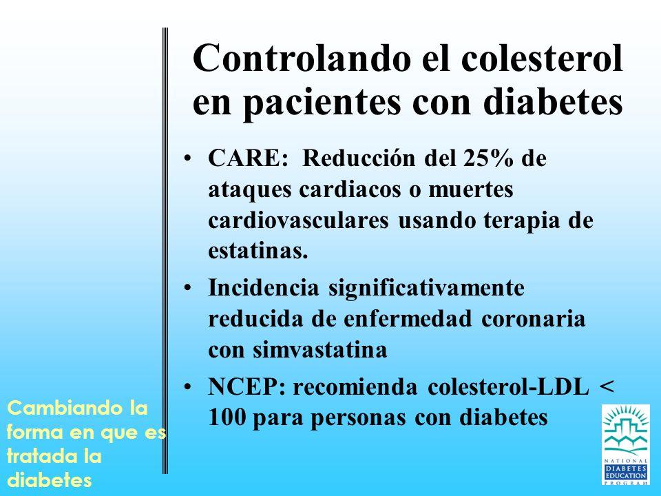 Cambiando la forma en que es tratada la diabetes Controlando el colesterol en pacientes con diabetes CARE: Reducción del 25% de ataques cardiacos o mu