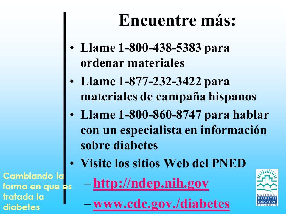 Encuentre más: Llame 1-800-438-5383 para ordenar materiales Llame 1-877-232-3422 para materiales de campaña hispanos Llame 1-800-860-8747 para hablar