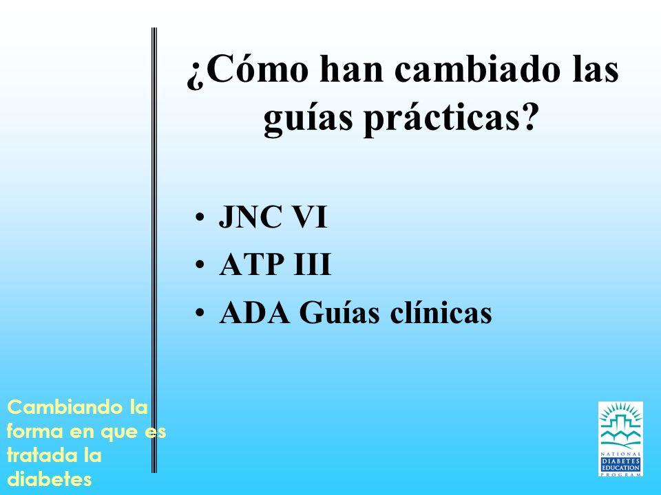 ¿Cómo han cambiado las guías prácticas? JNC VI ATP III ADA Guías clínicas Cambiando la forma en que es tratada la diabetes