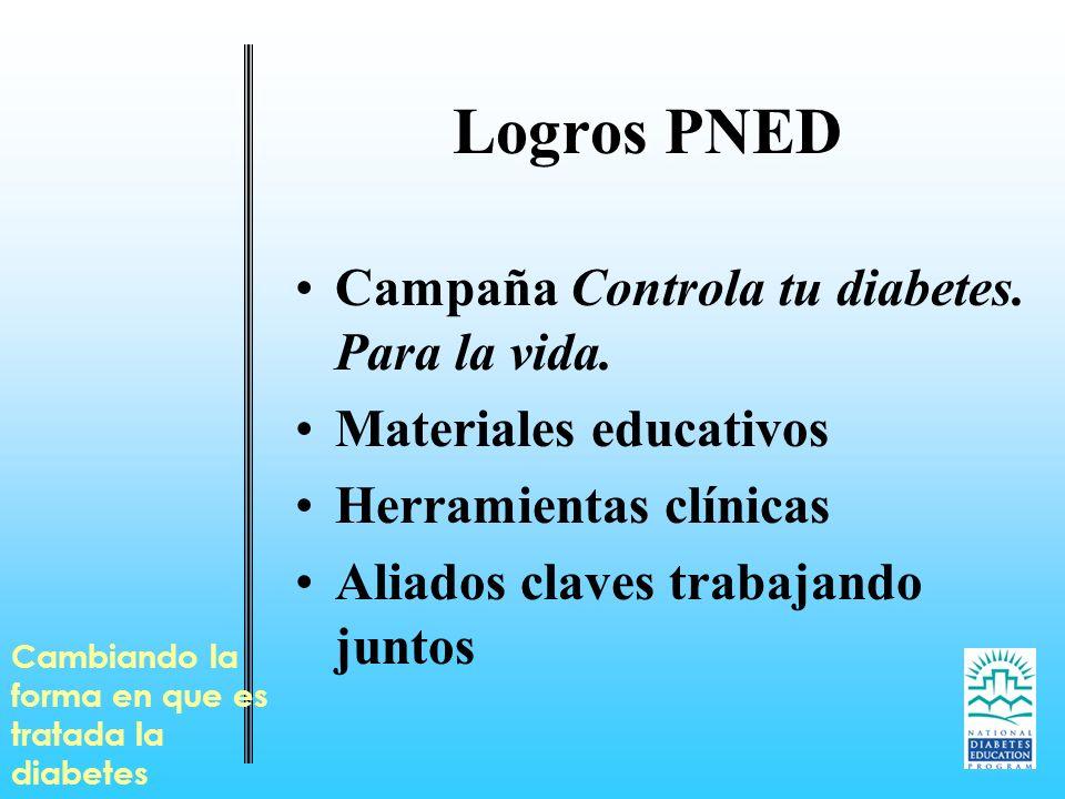 Logros PNED Campaña Controla tu diabetes. Para la vida. Materiales educativos Herramientas clínicas Aliados claves trabajando juntos Cambiando la form