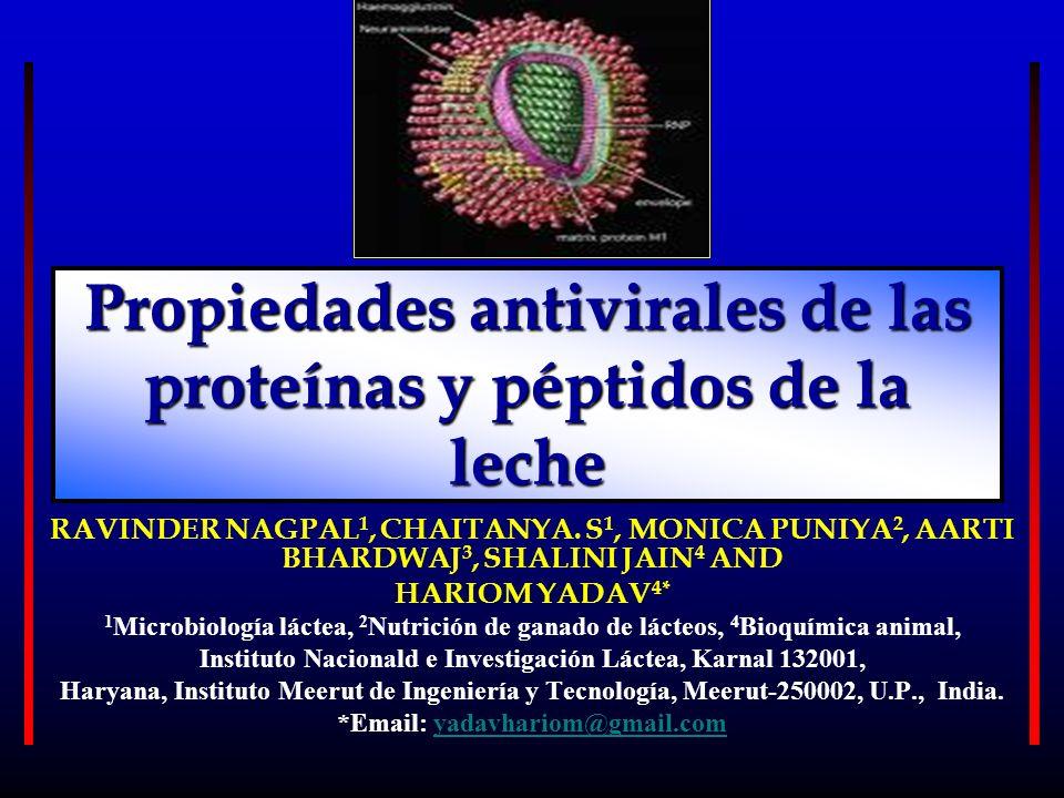 Propiedades antivirales de las proteínas y péptidos de la leche RAVINDER NAGPAL 1, CHAITANYA. S 1, MONICA PUNIYA 2, AARTI BHARDWAJ 3, SHALINI JAIN 4 A
