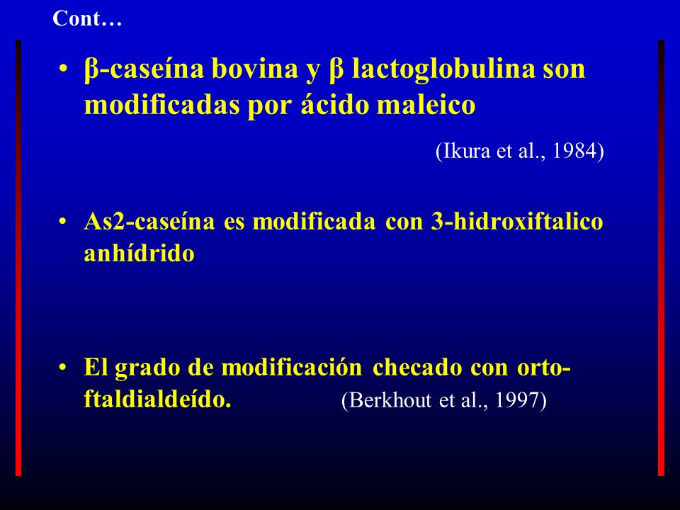 β-caseína bovina y β lactoglobulina son modificadas por ácido maleico (Ikura et al., 1984) As2-caseína es modificada con 3-hidroxiftalico anhídrido El