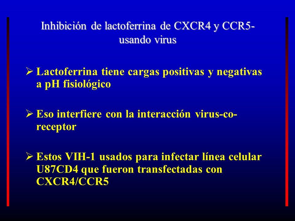 Inhibición de lactoferrina de CXCR4 y CCR5- usando virus Lactoferrina tiene cargas positivas y negativas a pH fisiológico Eso interfiere con la intera
