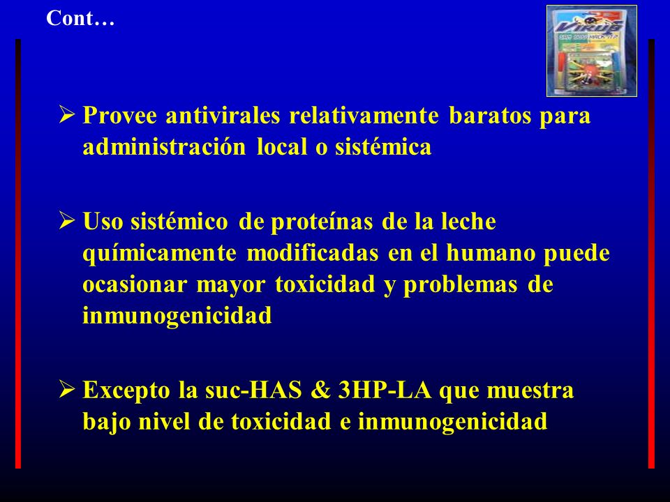 Provee antivirales relativamente baratos para administración local o sistémica Uso sistémico de proteínas de la leche químicamente modificadas en el h