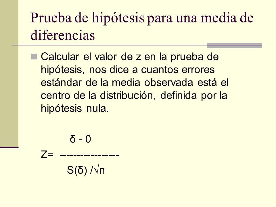 Prueba de hipótesis para una media de diferencias Calcular el valor de z en la prueba de hipótesis, nos dice a cuantos errores estándar de la media ob