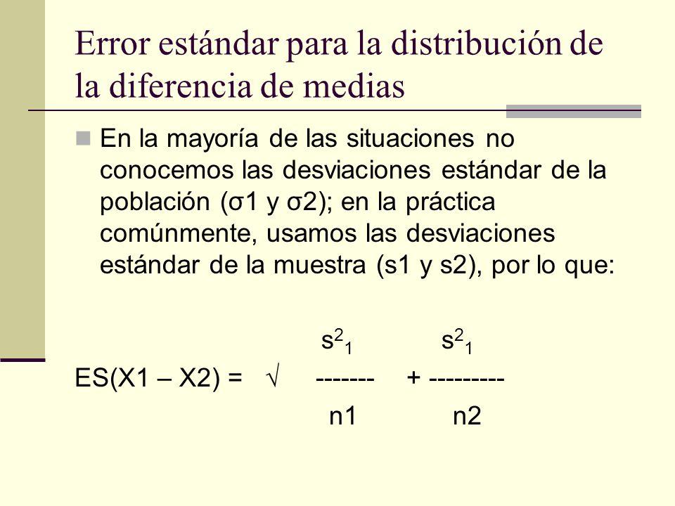 Error estándar para la distribución de la diferencia de medias En la mayoría de las situaciones no conocemos las desviaciones estándar de la población