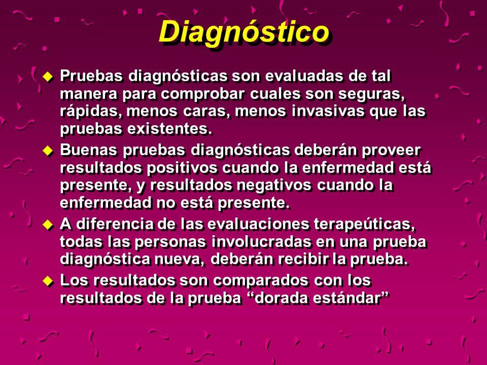 Diagnóstico u Pruebas diagnósticas son evaluadas de tal manera para comprobar cuales son seguras, rápidas, menos caras, menos invasivas que las prueba