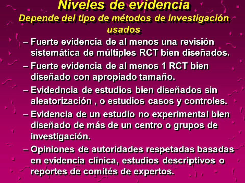 Niveles de evidencia Depende del tipo de métodos de investigación usados –Fuerte evidencia de al menos una revisión sistemática de múltiples RCT bien