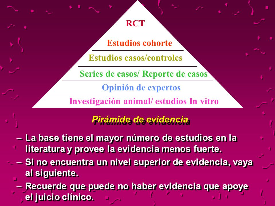 Pirámide de evidencia –La base tiene el mayor número de estudios en la literatura y provee la evidencia menos fuerte. –Si no encuentra un nivel superi