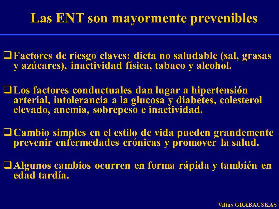 Factores de riesgo claves: dieta no saludable (sal, grasas y azúcares), inactividad física, tabaco y alcohol. Los factores conductuales dan lugar a hi
